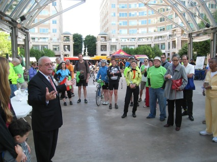 Congressman Connolly addresses the Bike to Work Day crowd in the Pavilion before they ride off